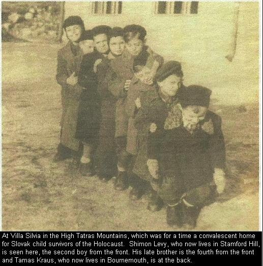 At Villa Silvia in the High Tatras Mountains, which was for a time a convalescent home for Slovak child survivors of the Holocaust.  Shimon Levy, who now lives in Stamford Hill, is seen here, the second boy from the front. His late brother is the fourth from the front and Tamas Kraus, who now lives in Bournemouth, is at the back.
